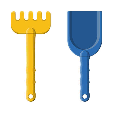 Plastic rake and shovel isolated on white. Rake and scoop toys for choldren sandbox and playground. Vector illustration in flat style