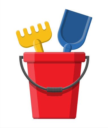 Plastic bucket with rake and shovel isolated on white. Bucket, rake and scoop toys for children sandbox and playground. Vector illustration in flat style Illustration