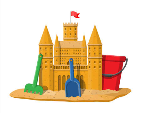 Sand castle. Sandcastle handmade sculpture. Plastic bucket with rake, shovel. Fortress with towers. Fort with gates and flag. Kids children leisure fun game playground. Vector illustration flat style