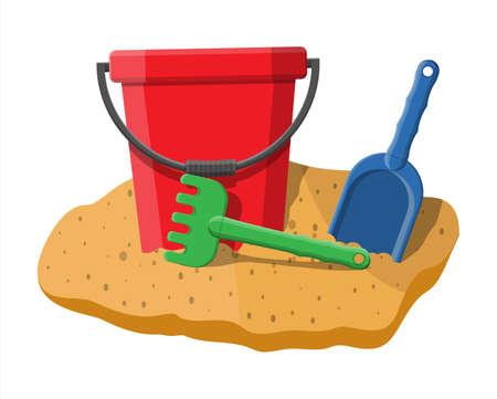Plastic bucket with rake and shovel