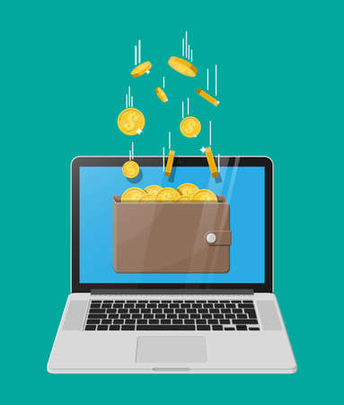 Concept of online income. Earnings in internet network. Electronic wallet. Freelance work. Golden coins flying in wallet on laptop monitor. Growth, income, success. Flat style vector illustration