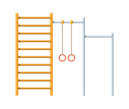 Street workout place. Horizontal bar with climbing rings and ladder. Sport, gym, fitness, exercise, kids playground element. Vector illustration in flat style