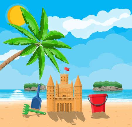 Beach with sand castle Ilustração Vetorial