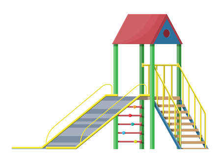 Childrens slide with ladder and roof isolated on white. Outdoor device for play activity, entertainment, amusement, fun. Public playground or kindergarten. Vector illustration in flat style