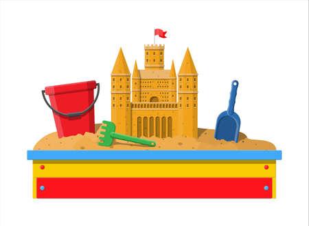 Wooden childrens sandbox for games. Illustration