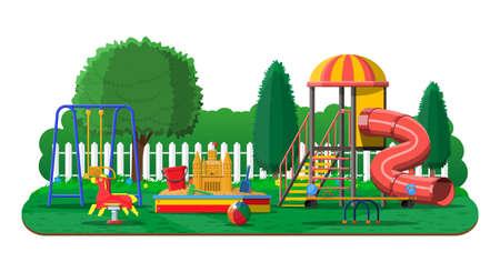 Panorama de jardín de infantes de juegos para niños Ilustración de vector