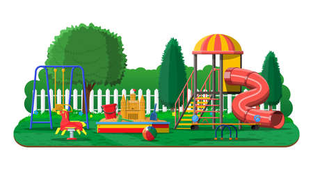 Kids playground kindergarten panorama Illustration
