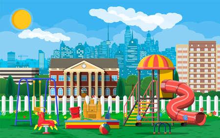 Kids playground kindergarten panorama. Urban child amusement. Slide ladder, rocking toy on spring, slide tube, swing carousel balancer, sandbox. Cityscape. Vector illustration flat style Illustration
