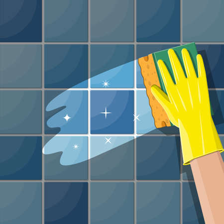 Hand in gloves with sponge wash wall in bathroom or kitchen. Cleaning service. Washing sponge. Kitchenware scouring pads. Kitchen and bath cleaning tool accestories. Vector illustration in flat style Illustration