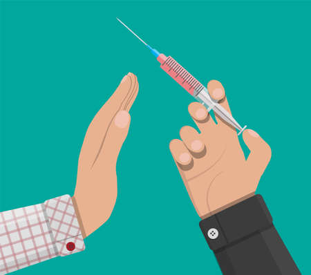 Hand of the drug dealer gives syringe with drug to other hand. Anti-drug concept. Rejection. Vector illustration in flat style