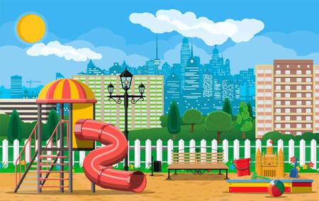 Kids playground kindergarten panorama.