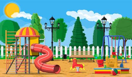 Kids playground kindergarten panorama Illustration