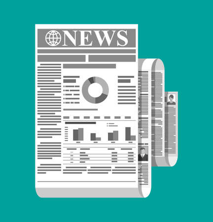 Rolled daily newspaper in black and white. News journal roll design. Pages with various headlines, images, quotes, text and articles. Media, journalism and press. Vector illustration in flat style.
