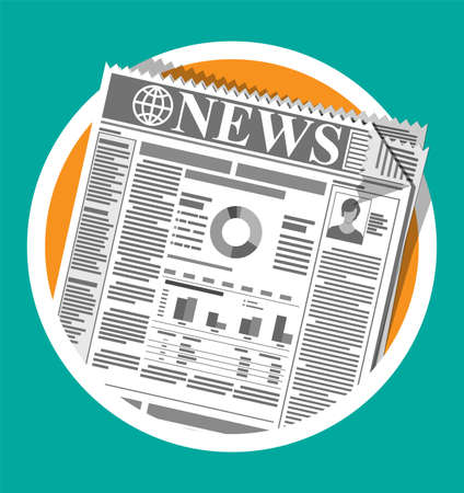 Daily newspaper in black and white. News journal design. Pages with various headlines, images, quotes, text and articles. Media, journalism and press. Vector illustration in flat style. Illustration