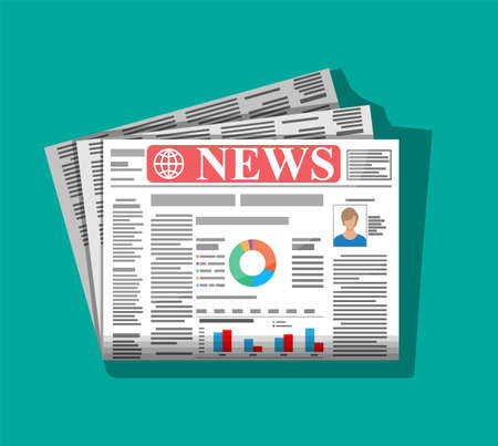 Daily newspaper in color. News journal design. Pages with various headlines, images, quotes, text and articles. Media, journalism and press. Vector illustration in flat style.