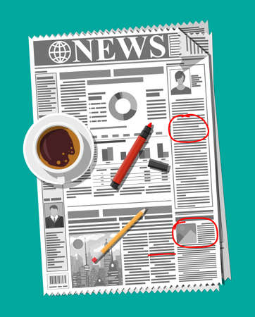 Newspaper with notes and reminders, cup of coffee, pencil. Morning business elements, breakfast, coffeebreak. Pages with headlines, images, quotes, text and articles. Vector illustration flat style