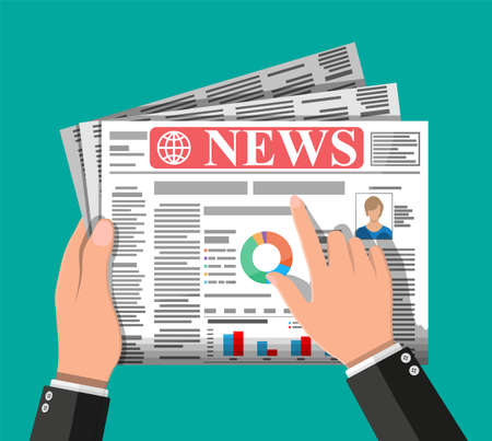 Daily newspaper in hands. News journal design. Pages with various headlines, images, quotes, text and articles. Media, journalism and press. Vector illustration in flat style.
