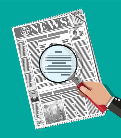 Businessman hand holding magnifying glass over newspaper with titles and photo. News journal design. Pages with various headlines, images, quotes, text and articles. Vector illustration flat style.