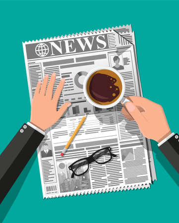 Hands with newspaper cup of coffee, eyeglasses, pencil. Morning business elements, breakfast, coffeebreak. Pages with headlines, images, quotes, text and articles. Vector illustration flat style