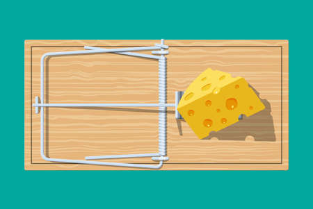 Wooden mouse trap with cheese, classical spring loaded bar trap. Top view. Vector illustration in flat style