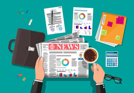 Businessman reading daily newspaper. News journal design. Pages with various headlines, images, quotes, text and articles. Media, journalism and press. Vector illustration in flat style.