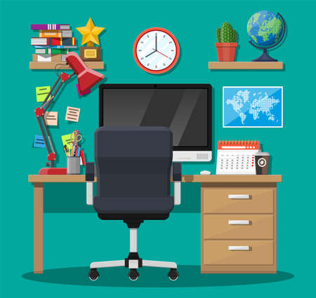 Modern creative office or home workspace. Workplace with computer, desk, chair, lamp, clock, books, coffee, calendar stationery. Desk with business elements. Vector illustration in flat style