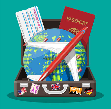 Travel suitcase with stickers of countrys and citys all over the world. Globe with travel destinations. Airplane, ticket and passport. Vacation and holiday. Vector illistration in flat style Vektoros illusztráció