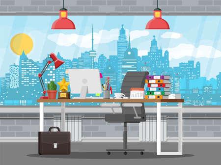 Office building interior vector illustration