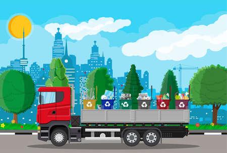Vrachtwagen voor transportafval.