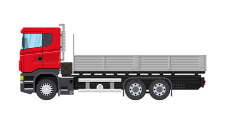 Cargo delivery truck with platform. Shipping and delivery of goods. Car for transport. Trailer vehicle. Vector illustration in flat style