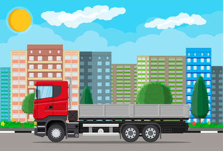 Cargo delivery truck with platform on city street. Shipping and delivery of goods. Car for transport. Trailer vehicle. Cityscape, building, tree. Vector illustration in flat style