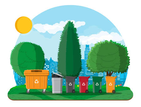 Ecological lifestyle concept. Can container, bag and bucket for garbage. Recycling and utilization equipment. Urban cityscape with trees. Green city. Vector illustration in flat style Illustration