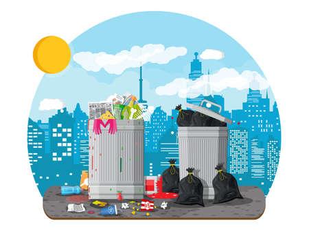 Garbage bin full of trash. Overflowing container Çizim