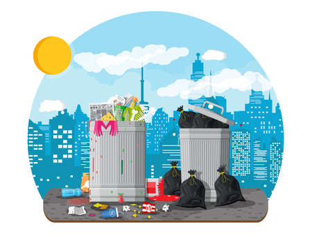 Garbage bin full of trash. Overflowing container Illustration