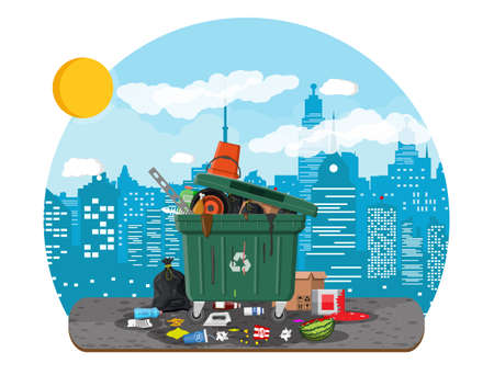 Plastic garbage bin full of trash. Overflowing garbage, food, rotten fruit, papers, containers and glass. Garbage recycling and utilization equipment. Waste management Vector illustration flat style