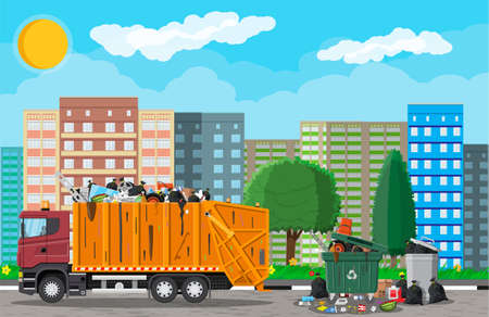 Truck for assembling, transportation garbage. Car waste disposal. Can container, bag and bucket for garbage. Recycling and utilization equipment. Urban cityscape. Vector illustration in flat style