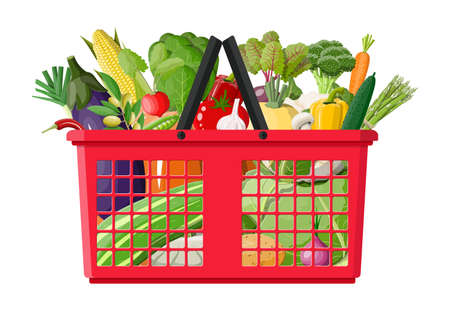Plastic shopping basket full of vegetables. Farming fresh food, organic agriculture products. Onion, cabbage, pepper, pumpkin, cucumber, tomato and other vegetables. Vector illustration flat style Illustration