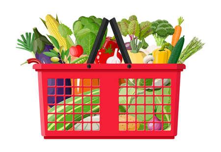 Plastic shopping basket full of vegetables. Stock Photo