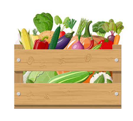 Wooden box full of vegetables.