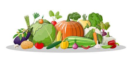 Big vegetable isolated icon set.
