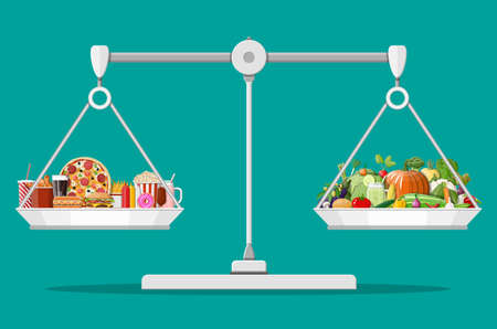 Scales with fast food and organic products. Diet, nutrition, fitness and weight loss or overweight fat. Greasy cholesterol vs. vitamins from vegetables. Food choice. Flat vector illustration