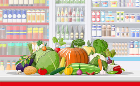 Supermarket store interior with vegetables. Big shopping mall. Interior store inside. Checkout counter, grocery, drinks, food, dairy products. Vector illustration in flat style Illustration