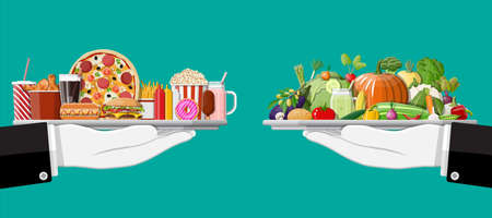 Tray with fast food and organic products. Diet, nutrition, fitness and weight loss or overweight and fat. Greasy cholesterol vs. vitamins from vegetables. Food choice. Flat vector illustration Illustration