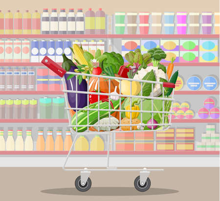 Supermarket store interior with vegetables in shopping cart. Big shopping mall. Interior store inside. Checkout counter, grocery, drinks, food, dairy products. Vector illustration in flat style