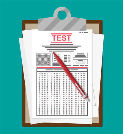 Clipboard with survey or exam forms and pen. Answered quiz papers, pile of sheets with education test. Checklist or questionnaire document. Vector illustration in flat style