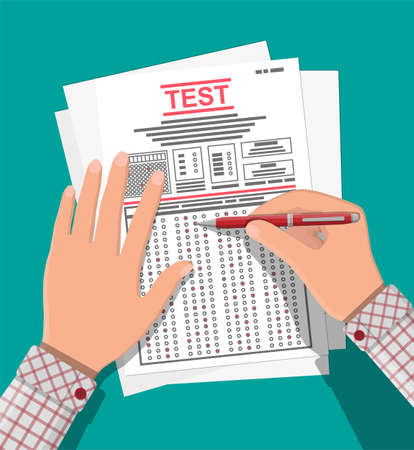 Hands with pen fill survey or exam forms. Answered quiz papers, pile of sheets with education test. Checklist or questionnaire document. Vector illustration in flat style Illustration