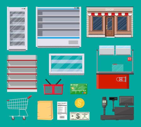 Ensemble d'articles de supermarché. Réfrigérateur, étagère, chariot, panier, sac à provisions en papier, bâtiment de magasin, caisse d'épicerie, options de paiement et distributeur de billets. Illustration vectorielle dans un style plat