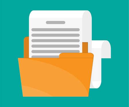 Carpeta amarilla con rollo de papel para documentos. Carpeta de anillas llena de papeles comerciales. Auditoria, proceso fiscal, voncept contable. Ilustración de vector de estilo plano