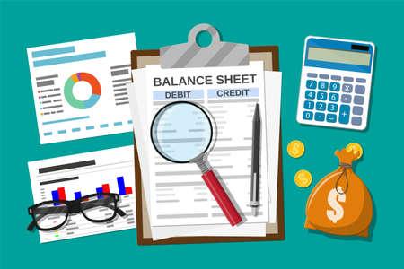 Schowek z bilansem i długopisem. Kalkulator salda pieniędzy. Sprawozdania finansowe i dokumenty. Księgowość, prowadzenie ksiąg rachunkowych, audytowe obliczenia debetowe i kredytowe. Wektor ilustracja płaski