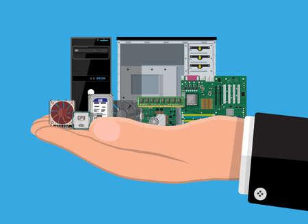 Carte mère, disque dur, processeur, ventilateur, carte graphique, mémoire, tournevis et étui. Ensemble de matériel informatique personnel en main. Icônes de composants PC. Illustration vectorielle dans un style plat